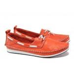 Анатомични дамски мокасини от естествена кожа МИ 308 червен | Равни дамски обувки | MES.BG