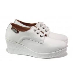 Анатомични дамски обувки от естествена кожа МИ 130 бял | Дамски обувки на платформа | MES.BG