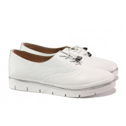 Анатомични дамски обувки от естествена кожа МИ 265-14601 бял | Равни дамски обувки | MES.BG