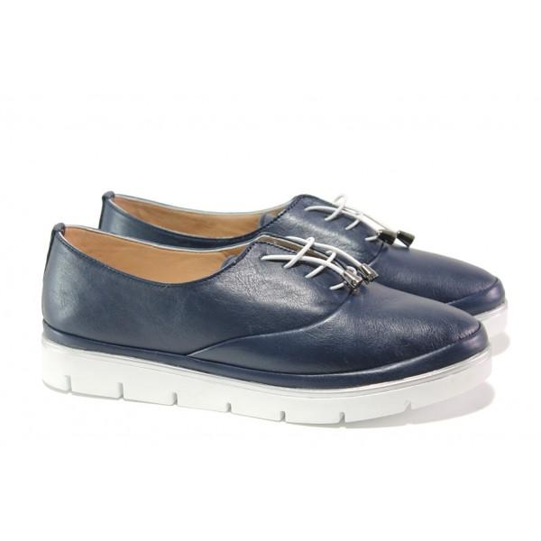 Анатомични дамски обувки от естествена кожа МИ 265-14601 син | Равни дамски обувки | MES.BG