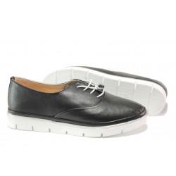 Анатомични дамски обувки от естествена кожа МИ 265-14601 черен | Равни дамски обувки | MES.BG