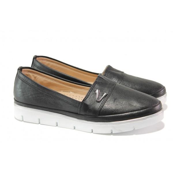 Анатомични дамски обувки от естествена кожа МИ 268-14608 черен | Равни дамски обувки | MES.BG