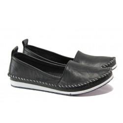 Анатомични дамски мокасини от естествена кожа МИ 307 черен | Равни дамски обувки | MES.BG