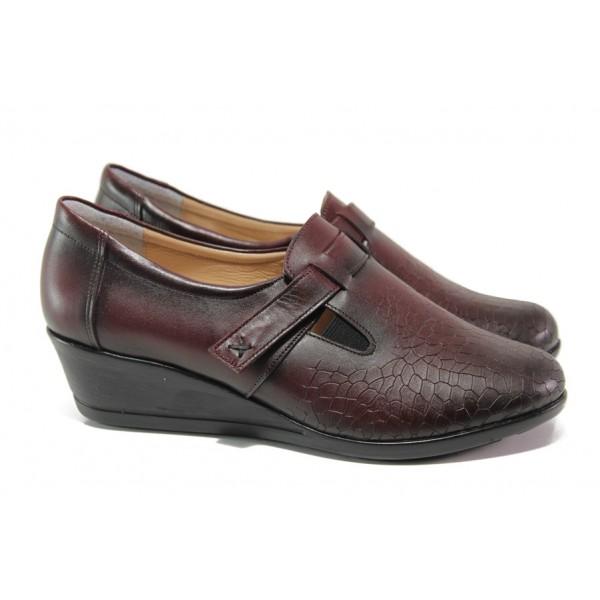 Дамски обувки от естествена кожа МИ 640 бордо | Дамски обувки на платформа | MES.BG