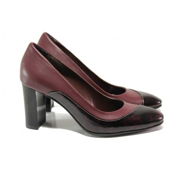 Елегантни дамски обувки от естествена кожа МИ 160 бордо | Дамски обувки на висок ток | MES.BG