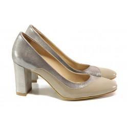Елегантни дамски обувки от естествена кожа МИ 160 бежов | Дамски обувки на висок ток | MES.BG