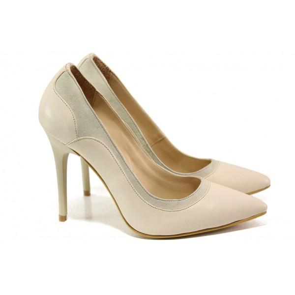 Елегантни дамски обувки от естествена кожа МИ 202 бежов | Дамски обувки на висок ток | MES.BG