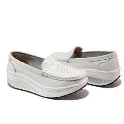 Комфортни дамски мокасини от естествена кожа ФР 339 бял | Дамски обувки на платформа | MES.BG