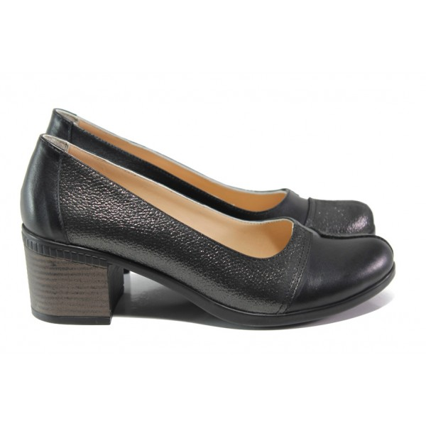 Анатомични дамски обувки от естествена кожа МИ 9559 черен | Дамски обувки на среден ток | MES.BG