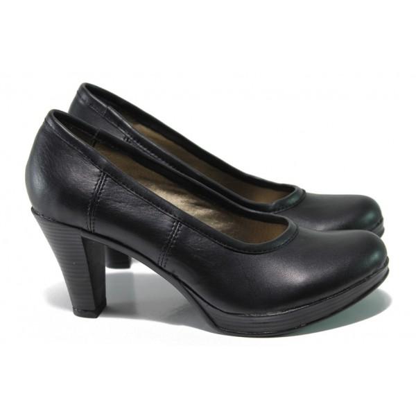 Анатомични български обувки от естествена кожа НЛ 299-6843 черен | Дамски обувки на ток | MES.BG
