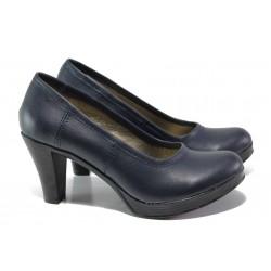 Анатомични български обувки от естествена кожа НЛ 299-6843 син | Дамски обувки на ток | MES.BG