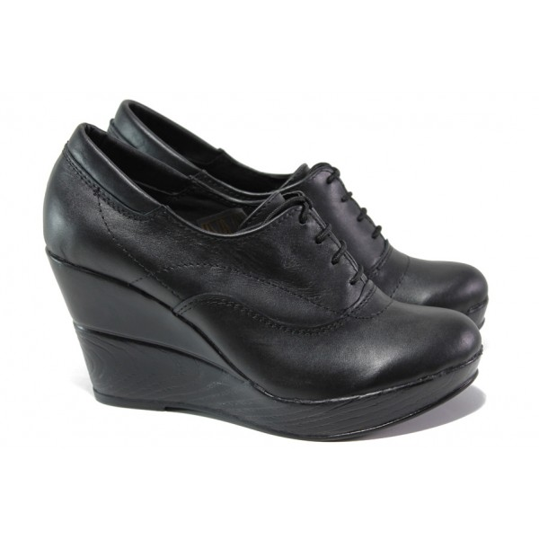 Анатомични български обувки от естествена кожа НЛ 151-10383 черен | Дамски обувки на платформа | MES.BG