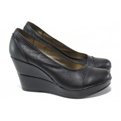 Анатомични български обувки от естествена кожа НЛ 140-10383 черен | Дамски обувки на платформа | MES.BG
