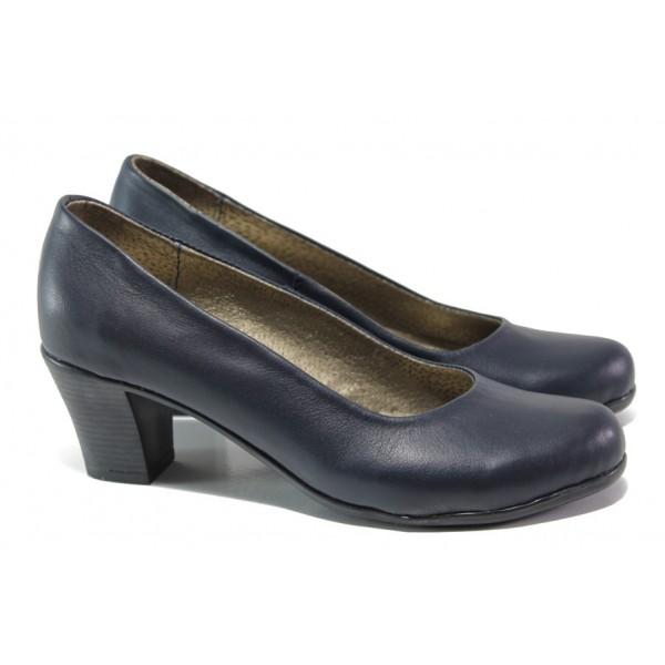 Анатомични български обувки от естествена кожа НЛ 165-1705 син | Дамски обувки на ток | MES.BG