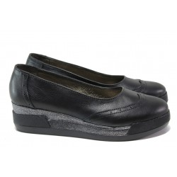 Анатомични български обувки от естествена кожа НЛ 300-8218 черен | Дамски обувки на платформа | MES.BG