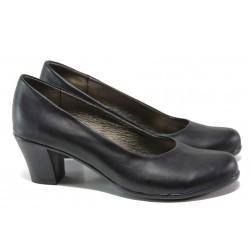 Анатомични български обувки от естествена кожа НЛ 165-1705 черен кожа | Дамски обувки на ток | MES.BG
