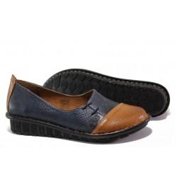 Анатомични дамски обувки от естествена кожа МИ 18101-1 син гигант | Равни дамски обувки | MES.BG