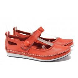 Анатомични мокасини от естествена кожа МИ 306-1010 червен | Равни дамски обувки | MES.BG