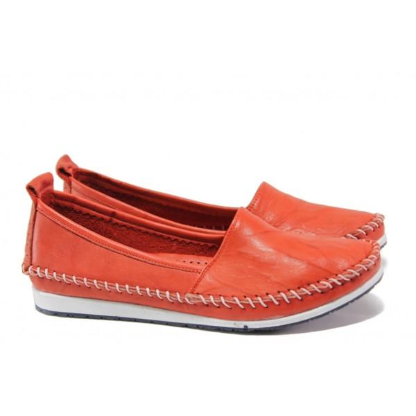 Анатомични мокасини от естествена кожа МИ 307 червен | Равни дамски обувки | MES.BG
