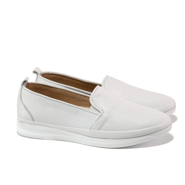 Анатомични дамски обувки от естествена кожа МИ 273-14202 бял | Равни дамски обувки | MES.BG