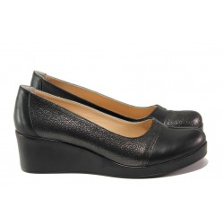 Дамски обувки от естествена кожа МИ 9563 черен | Дамски обувки на платформа | MES.BG
