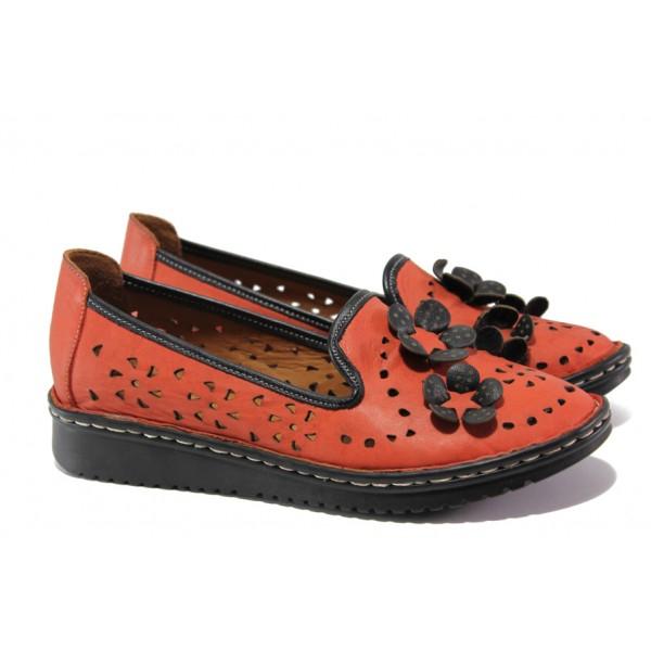 Анатомични обувки от естествена кожа МИ 0146 червен | Равни дамски обувки | MES.BG