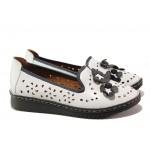Анатомични обувки от естествена кожа МИ 0146 бял | Равни дамски обувки | MES.BG