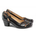 Дамски обувки от естествена кожа МИ 654 черен | Дамски обувки на среден ток | MES.BG