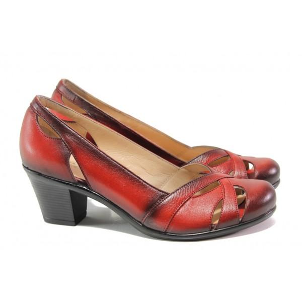 Дамски обувки от естествена кожа МИ 654 червен | Дамски обувки на среден ток | MES.BG
