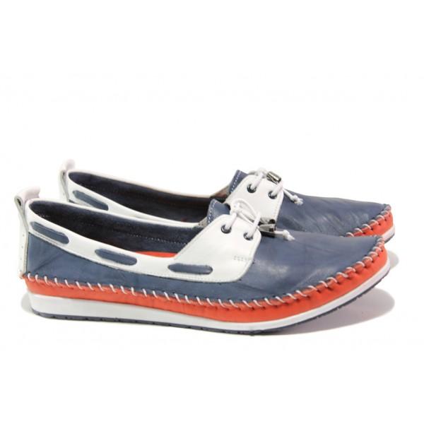 Анатомични дамски обувки от естествена кожа МИ 308 син томи | Равни дамски обувки | MES.BG