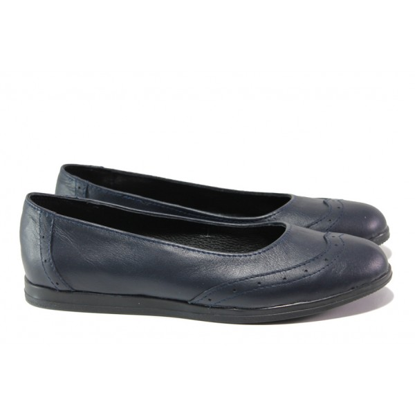 Анатомични български обувки от естествена кожа НЛ 300 AMINA син | Равни дамски обувки | MES.BG