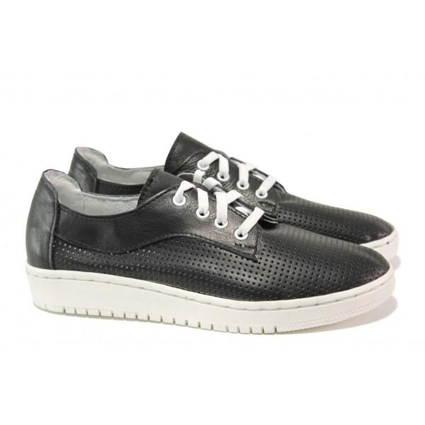 Анатомични български обувки от естествена кожа НЛ 289-1608 черен | Равни дамски обувки | MES.BG