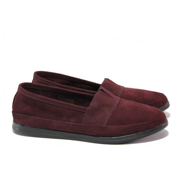 Анатомични български обувки от естествен набук НЛ 301 AMINA бордо набук | Равни дамски обувки | MES.BG