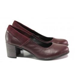 Анатомични български обувки от естествена кожа НЛ 302-527 бордо | Дамски обувки на среден ток | MES.BG