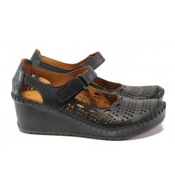 Анатомични дамски обувки от естествена кожа МИ 460-01 черен | Дамски обувки на платформа | MES.BG