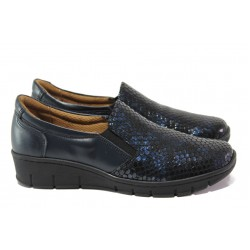 Дамски ортопедични обувки от естествена кожа SOFTMODE 314 син кроко | Равни дамски обувки | MES.BG
