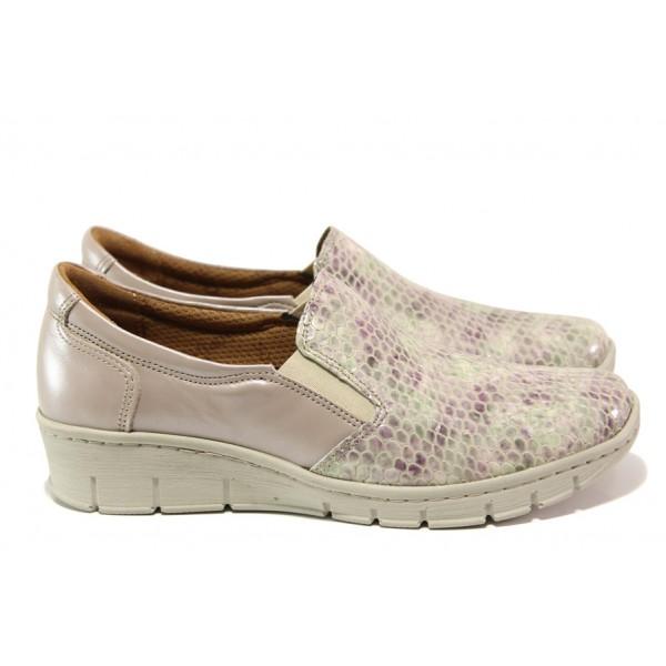 Дамски ортопедични обувки от естествена кожа SOFTMODE 314 таупе кроко | Равни дамски обувки | MES.BG