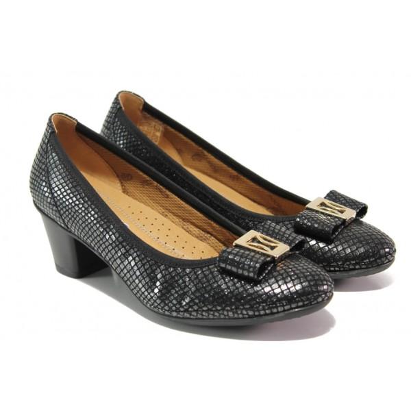 Дамски ортопедични обувки от естествена кожа SOFTMODE 173003 черен | Дамски обувки на среден ток | MES.BG