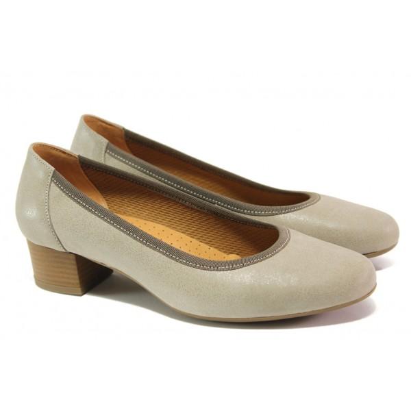 Дамски ортопедични обувки от естествена кожа SOFTMODE 5172803 бежов | Дамски обувки на среден ток | MES.BG