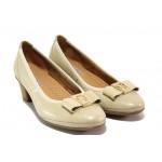 Дамски ортопедични обувки от естествена кожа SOFTMODE 173003 бежов | Дамски обувки на среден ток | MES.BG