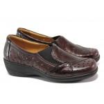 Дамски ортопедични обувки от естествена кожа SOFTMODE 225 бордо | Дамски обувки на платформа | MES.BG