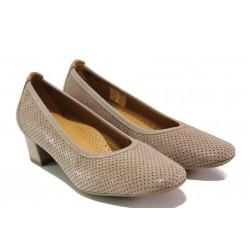 Дамски ортопедични обувки от естествена кожа SOFTMODE 7096 таупе | Дамски обувки на среден ток | MES.BG