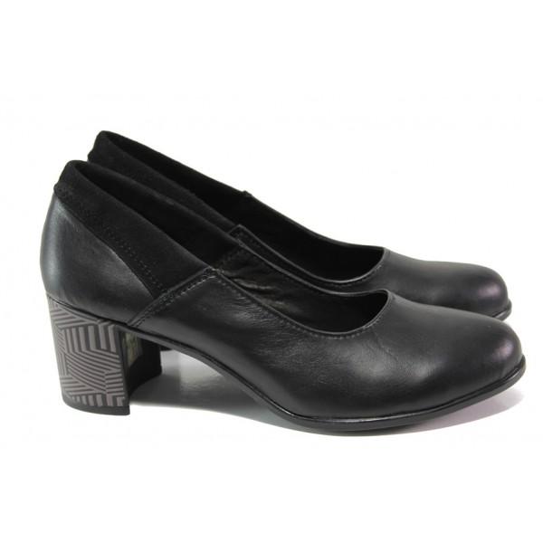 Анатомични български обувки от естествена кожа НЛ 302-527 черен | Дамски обувки на среден ток | MES.BG