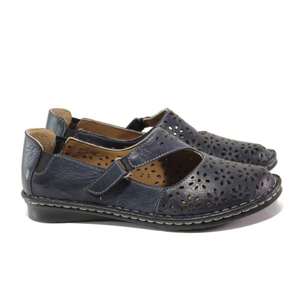 Анатомични дамски обувки от естествена кожа МИ 101-10 син | Равни дамски обувки | MES.BG