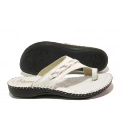 Анатомични български чехли от естествена кожа ГР 4024 бял | Дамски чехли | MES.BG