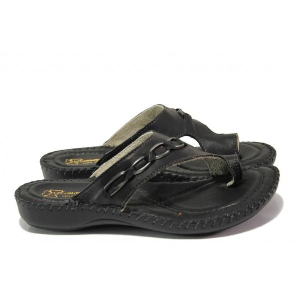 Анатомични български чехли от естествена кожа ГР 4024 черен | Дамски чехли | MES.BG