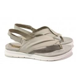 Анатомични български сандали от естествена кожа ГР 48012 сив | Равни дамски сандали | MES.BG