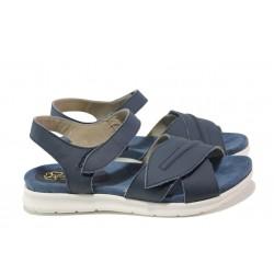 Анатомични български сандали от естествена кожа ГР 48009 син | Равни дамски сандали | MES.BG