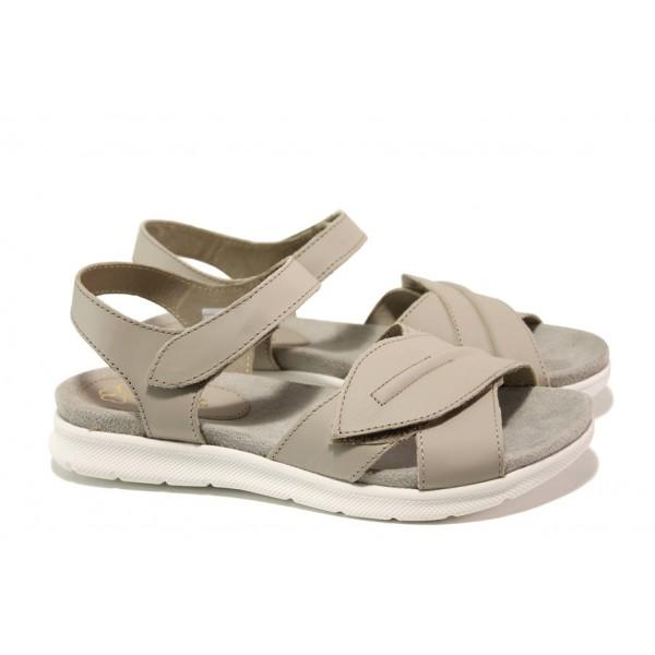 Анатомични български сандали от естествена кожа ГР 48009 сив | Равни дамски сандали | MES.BG