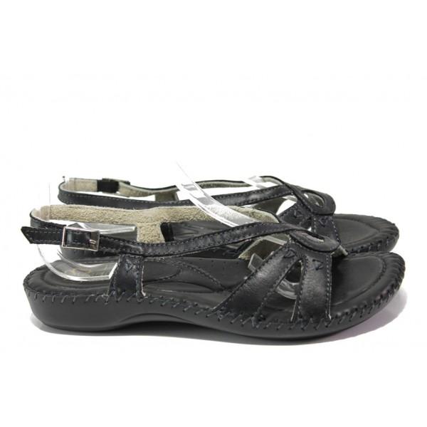 Анатомични български сандали от естествена кожа ГР 5005 черен | Равни дамски сандали | MES.BG